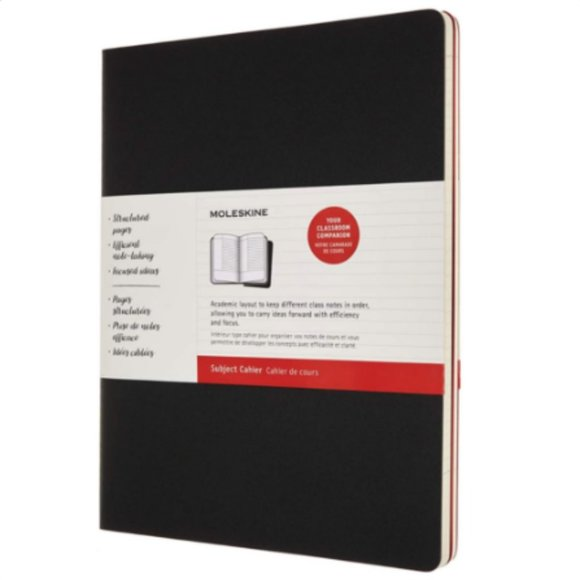 Black and Cranberry Red 8.5 x 11 Moleskine Subject Cahier Journal 160 Pages Soft Cover Set of 2 XL
